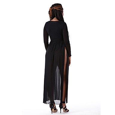 PU&PU Robe Aux femmes Ample Sexy / Simple,Couleur Pleine V Profond Maxi Polyester / Spandex , black , m
