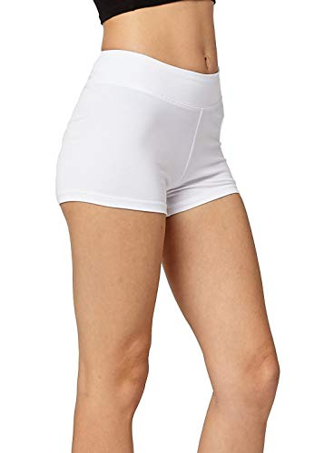 (Premium Ultra Soft Stretch High Waisted Cotton Leggings for Women with Yoga Waistband - Short Shorts White - Large)