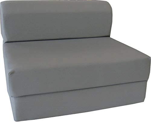 D&D Futon Furniture Gray Sleeper Chair Folding Foam Bed, Studio Guest Beds, Sofa, High Density Foam 1.8 lbs. (6 x 32 x 70)