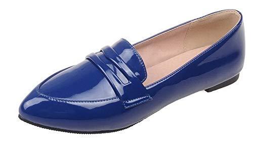 Chaussures Bas Femme Talon Gmbdb011726 Verni Couleur Unie Légeres Pointu Tire Bleu Agoolar À zxqdwng6BB