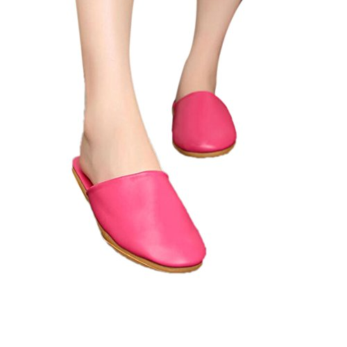 TELLW and Leather W for Floor Wooden Women Spring Slippers Summer Men Rose PU Autumn Mute rgqrRP