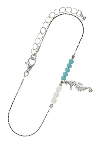 Diamond Seahorse Charm (TRENDY FASHION JEWELRY SEA HORSE CHARM DELICATE BEADED ANKLET BY FASHION DESTINATION | (Silver/Turquoise))