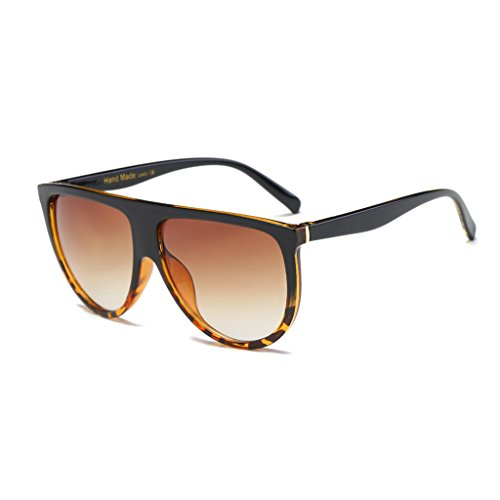Doober Fashion Women Big Frame Sunglasses Flat Top Designer Vintage Eyeglass Shades (Dark Leopard+Tawny, - Top Flat Sunglasses Vintage