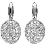 1001 Bijoux - Boucles d'oreille tige argent rhodié forme ovale oxydes blancs sertis
