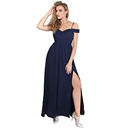 KRISP® Ladies Off Shoulder Formal Maxi Dress Slit Split Long Gown Wedding Evening Party