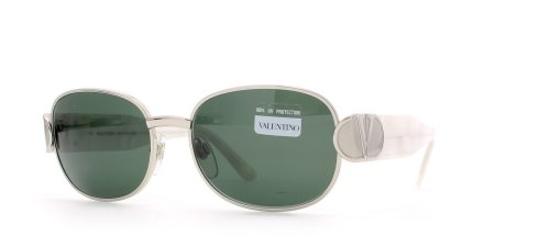 Valentino 711 1309 Silver Certified Vintage Rectangular Sunglasses For - Vintage Sunglasses Valentino