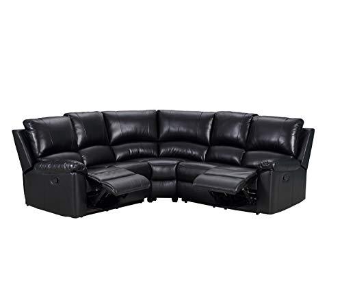 Blackjack Furniture 9241-BLACK-PWR-SECT Artisan Ultra Modern Living Room Power Reclining Sectional, 128