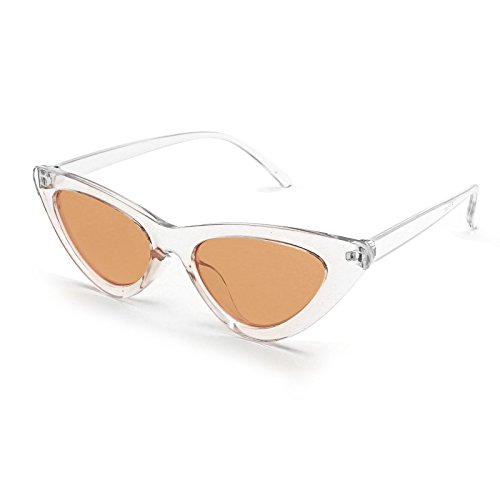 Livhò Retro Vintage Narrow Cat Eye Sunglasses for Women Clout Goggles Plastic Frame (Clear - Brown Cat Eyes