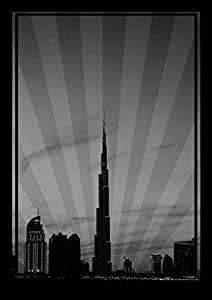Photo Of Dubai Skyline Down Town - Black And White No Text, Print Only (a0)
