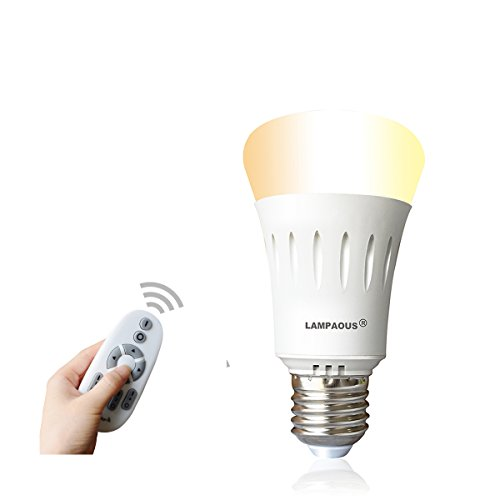 LAMPAOUS Remote Control LED Light Bulbs,Color Temperature Adjustable Dim to Bright 60 Watt Incandescent Equivalent for Desk Lamp Table Lamp Beside Lamp Ceiling Pendant Lamp (Smart Bulb and Control) by LAMPAOUS