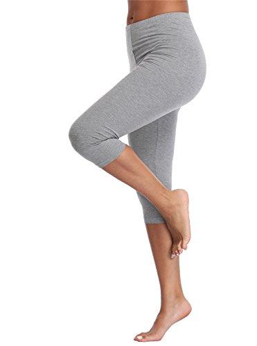 Kotii Women's Lightweight Soft Capri Leggings Crop Leggings 3/4 Stretch Yoga Pants, Grey, Small / Medium