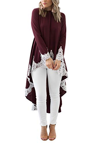 KAKALOT Women's Round Neck Long Sleeve High Low Lace Hem Long Maxi Tunic Blouse Shirt Dress Wine Red S