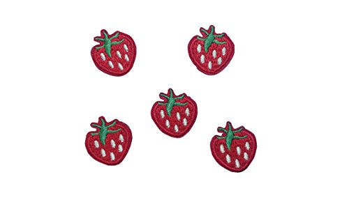 5 small pieces RED STRAWBERRY Iron On Patch Felt Fabric Applique Fruit Food Motif Children Decal 0.9 x 0.8 inches (2.3 x 2 cm)