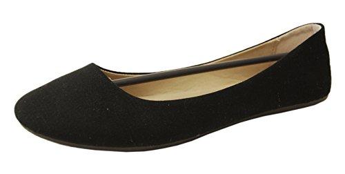 Refresh Demi-10 Womens Lightweight Canvas Classic Ballet Flats (6 B(M) US, Black)