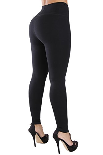 Curvify Womens Leggings, Butt Lifting Thigh Slimmers with High Rise Waist Control (BB 1012 XL Black)