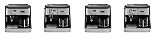 DeLonghi BCO430 Combination Pump Espresso and 10-cup Drip Coffee Machine with Frothing Wand, Silver and Black (4-(Pack))