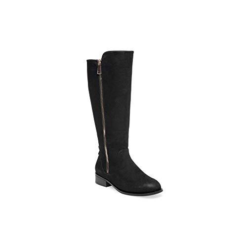 Steve Madden Womens Rhapsody Fabric Almond Toe Knee High Riding, Black, Size 6.5