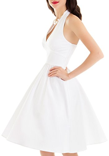 [Vintage loves retro fifties style outfits white 1950's style dress WHITE L] (Fifties Outfit)