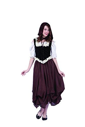 [RG Costumes Women's Deluxe Renaissance Peasant, Black/White/Brown/Cream, Large] (Womens Large Renaissance Costumes)