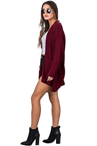 Manica Donna Tops Scollo Maglioni Maglia B Lunga Maglieria Maglione Landove Irregolare Moda Mantelle Autunno Cardigan Rosso Knitted Giacca Elegante V di Pullover Cappotto Inverno E5Uq7