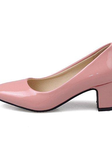 GGX/ Damen-High Heels-Büro / Kleid / Lässig-Lackleder-Blockabsatz-Komfort / Pumps / Quadratische Zehe-Schwarz / Rosa / Rot / Grau / Beige red-us8 / eu39 / uk6 / cn39