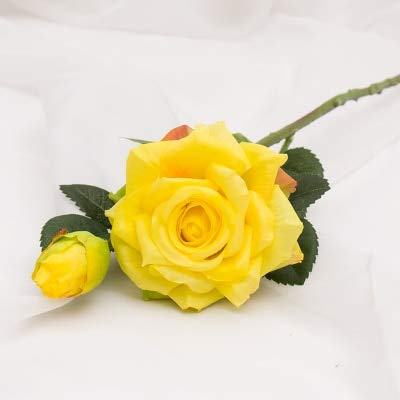 Chiyo By Wedding decoratio Artificial Flowers Vivid Real Touch Roses Artificial Silk Flower Bride Home Decor 2 Heads/Bouquet ()