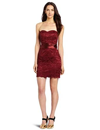 Floral Lace Overlay Pleated Satin Bow Strapless Dress (4, Ruby Wine)