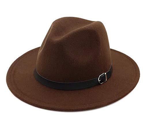 Lanzom Women Men Retro Style Wide Brim Panama Hat Belt Buckle Wool Fedora Hat (Coffee, One Size)]()
