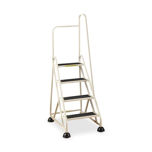 (Cramer 1041R-19 Stop-Step Ladder 4 Steps with Right Handrail 36-inch High Top Step, Beige)