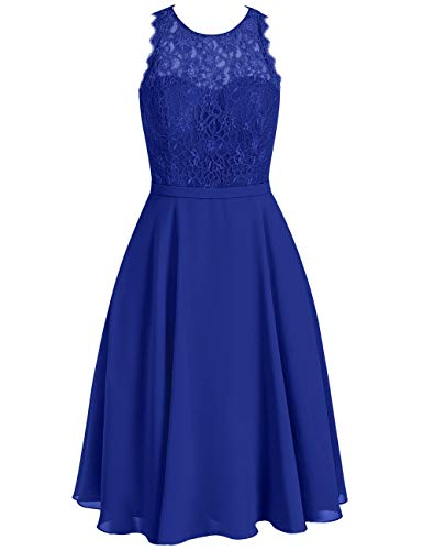 Pour Cérémonie Huini Sans Bleu Col Robe Soirée Rond Mousseline Mariage Manche Royal Dentelle Femme Courte 174S1a