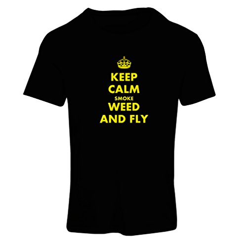 T Shirts For Women Keep Calm Smoke and Fly - Funny Sayings, Cool Quotes, Gag Gifts (Large Black Yellow)