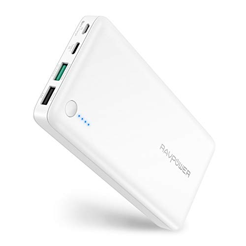 USB C Battery Pack RAVPower Portable Charger with QC 3.0 Qualcomm Quick Charge 3.0, 20100mAh Input & Output Type C Power Bank for Nintendo Switch, iPhone, 12-inch MacBook, Galaxy and More - White ()