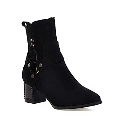 BalaMasa Womens ABS13932 Closed-Toe Pointed-Toe Travel Black Pu Boots - 2 UK (Lable:33)