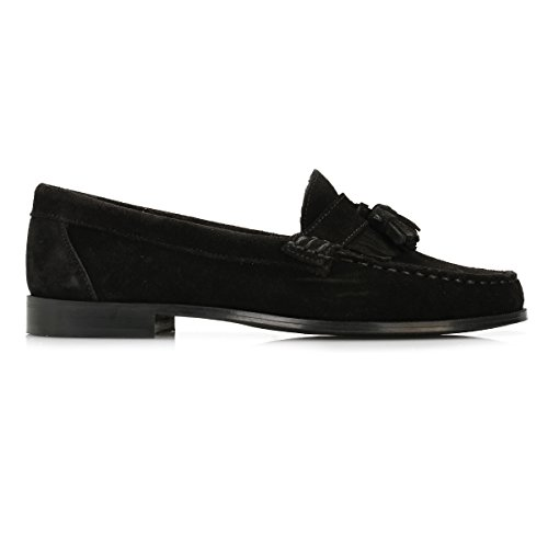 Tower Mujer Negro Ante Tassel Loafers