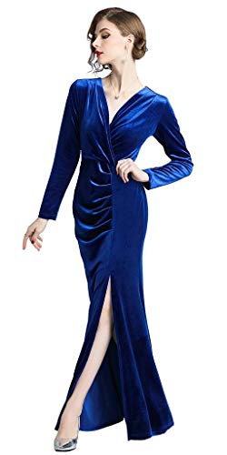 Retro Ababalaya Evening Gown Sapphire Long Women's Slit Bodycon 90s Velvet Formal Side UgwEqrgx