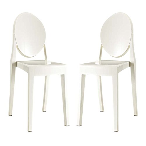 Modway Casper Modern Acrylic Stacking Two Kitchen and Dining Room Chairs in White - Fully Assembled -  EEI-906-WHI