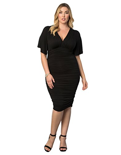 Ruched Little Black Dress (Kiyonna Women's Plus Size Rumor Ruched Dress 2x Black Noir)
