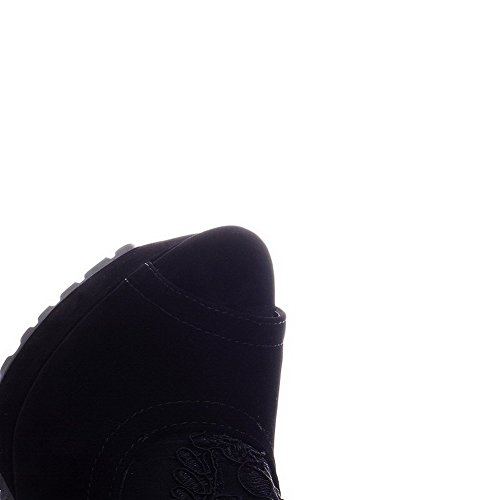 AllhqFashion Mujeres Sintético Sólido Cremallera Peep Tacón ancho Sandalia Negro