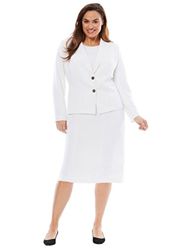Jessica London Women's Plus Size Single Breasted Jacket Dress White,16 ()