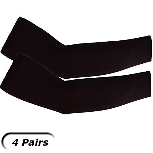 (UV Arm Sleeves (4 Pairs) Black - Universal Fit Sleeves to Protect Your Skin from Sun Exposure.)