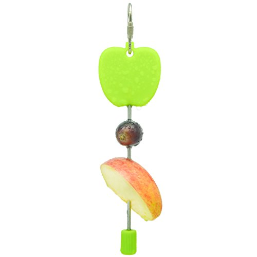 Niteangel Bird Parrot Treat Holder, Fruit Vegetable Holder Skewer, Foraging Toy for Parrots (Green)