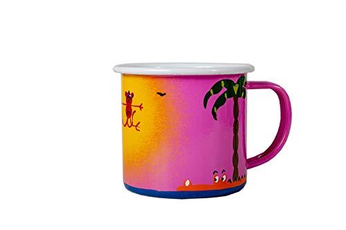 - Lumela Hand Painted Enamel Coffee Mugs Wildlife Jungle Animals Crocodile, Monkey & Elephant