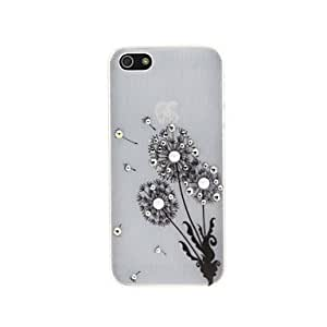 Mini - Luxury Silver Drawbench Female Style Sticker to Drill the Dandelions Pattern Plastic Hard Back Case for iPhone 5/5S