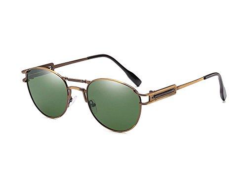 polarisées personnalité de rétro vert foncé de non masculine lunettes punk et Lunettes Bronze féminine Hellomiko soleil pxqXnf