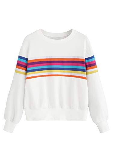 Romwe Women's Rainbow Stripe Sweatshirt Color Block Long Sleeve T-Shirt Top Tunics Blouses White L
