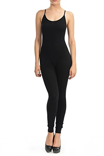 [7Wins Women Catsuit Cotton Lycra Tank Spaghetti Strapped Yoga Bodysuit Jumpsuit (Medium, Black2)] (Stretch Jumpsuit)