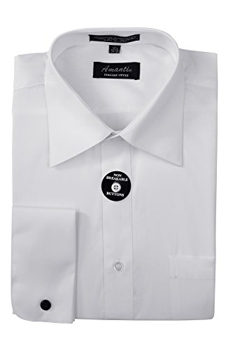 New Mens French Cuff Amanti Spread Collar Dress Shirt Cotton Blend (Neck 16.5 Sleeves 34/35, BLACK) (Barrel Cuff Dress Shirt)