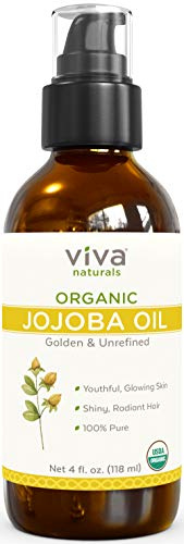 Viva Naturals Organic Jojoba Oil; USDA Certified Organic, 100% Pure & Cold-Pressed, Luscious & Natural Moisturizer for Hair, Skin & Nails, 4 oz