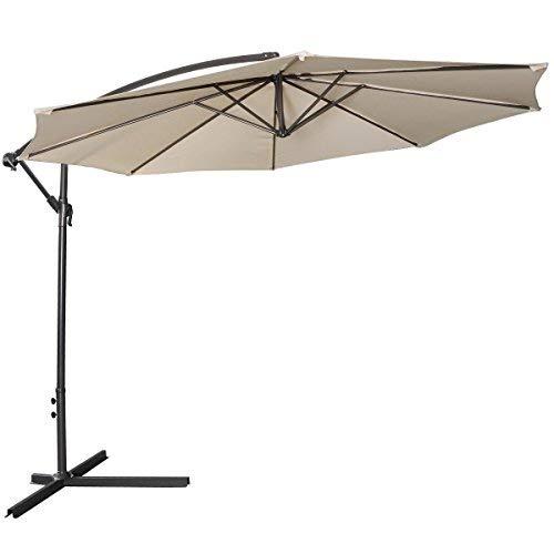 Tangkula Patio Umbrella 10ft Outdoor Sun Shade Umbrella Hanging Offset Crank W/Corss Base 8 Rips Steel Sturdy Frame Table Umbrella for Garden Pool Deck Market Umbrella (Beige) (Shades 10 Outdoor Ft)