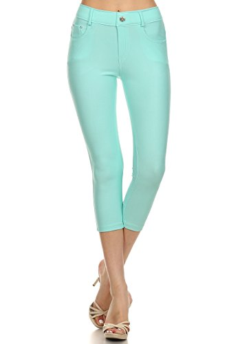 Spring Capri Jeans - ICONOFLASH Women's Stretch Capri Jeggings - Slimming Cotton Pull On Jean Like Cropped Leggings - Regular and Plus Size (Turquoise, 3XL)